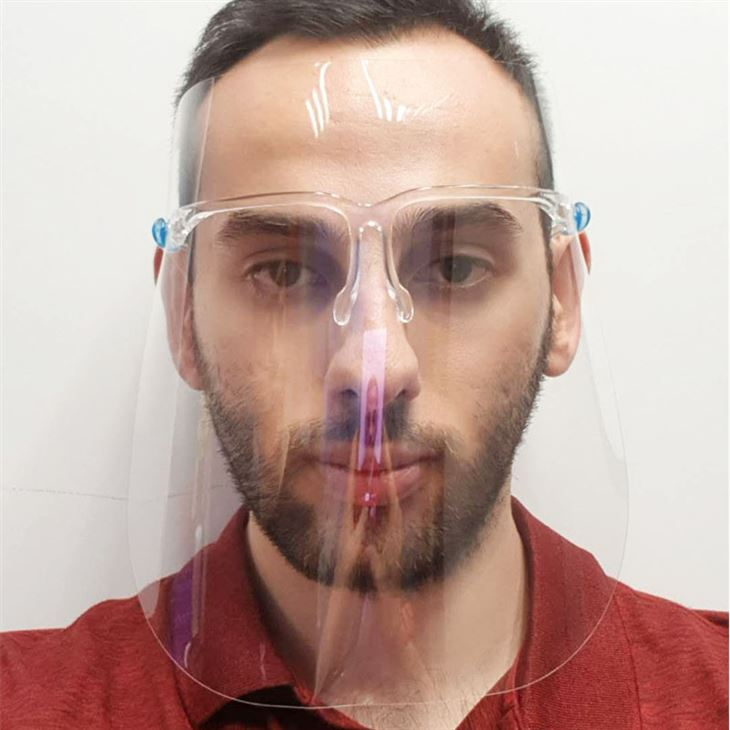 Adult Face Shield with Glasses man